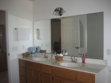 Very large master bath with double sink.