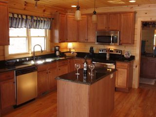 Lake Lure cabin photo - Kitchen fully equipped with stainless appliances, granite counters