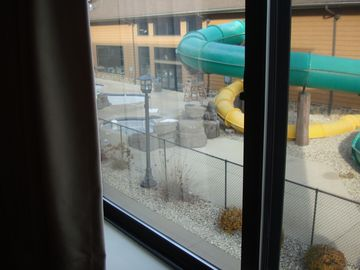 Condo view of outside Kiddie Pool -view of inside water park in the background
