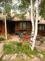 Steamboat Springs townhome photo - Patio seats 8 with beautiful flowers in summer. On free bus route!