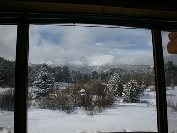 Mt. Meeker from the front window after a snow storm (winter)