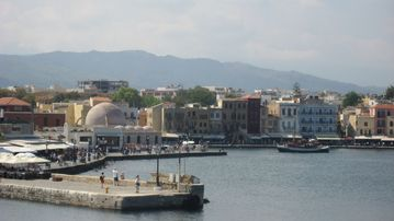 Chania harbour lined with tavernas