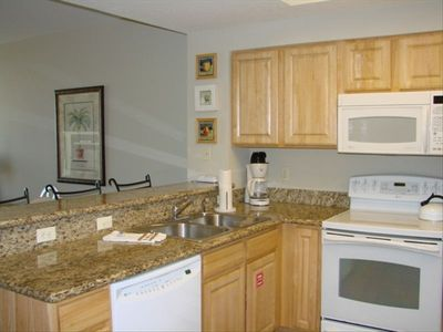 Beautiful granite countertops and GE profile appliances