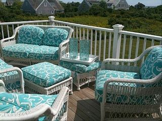 Siasconset house photo - Upper Outdoor Deck~ Seating Sumbrella by Scalamandre for 6 comfortably