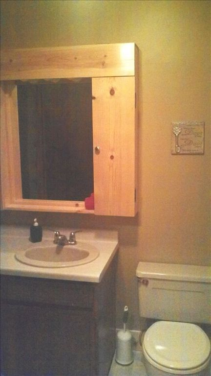 Bathroom with large vanity storage.