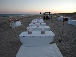Montauk house photo - Clambakes and bonfires on the beach don't have to be this formal