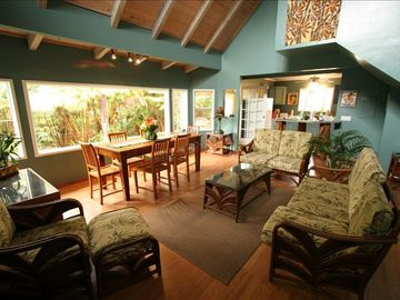 Volcano house rental - The Great Room at the Ohana House has a beautiful view of the rainforest