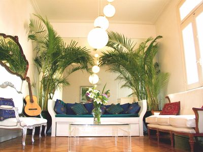 Recoleta apartment rental - Living room - yes, the guitar (and a tuner) are included!