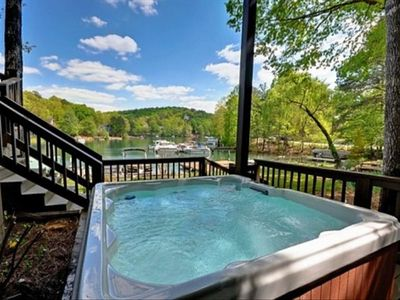 5 person hot tub with a view of the lake.