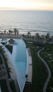 The largest private pool in Vallarta. 300' salt infinity Pool at Molino de Agua