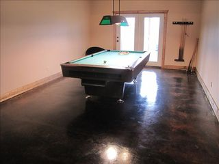 French Lick cabin photo - Pool table, foosball, air hockey, ping pong, bunk bed, couch & stereo