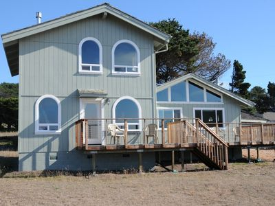 Mendocino house rental - West facing view of home: lots of glass!