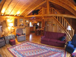 Burt Lake cabin photo - Living room to Kitchen & Loft