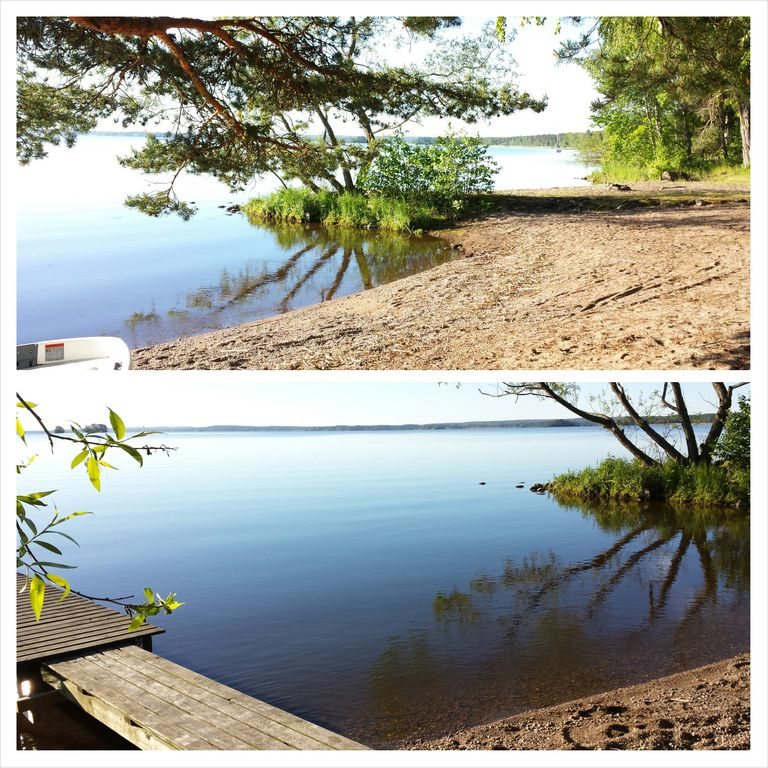 Cottage with private shallow beach by Lake Mälaren pier rowboat canoe