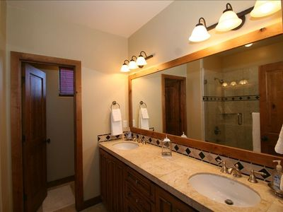 Master Bathroom with 2 Sinks, Shower and Private Toilet Room