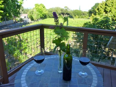 Enjoy a private balcony overlooking Turtle Vines Pinot noir vineyard.