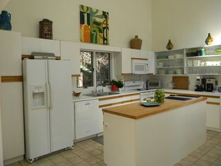 East Hampton house photo - Kitchen with new range, microwave, dishwasher and beverage refrigerator