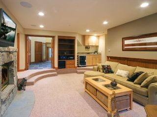 Squaw Valley - Olympic Valley house photo - Downstairs Entertainment Area w/ Fireplace & Flatscreen TV