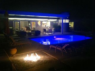 Palm Springs house photo - Color LED Pool Lights and natural gas fire pit set the evening ambiance