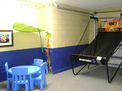 Game Room with toddler's corner, 9 games w/electronic basket game