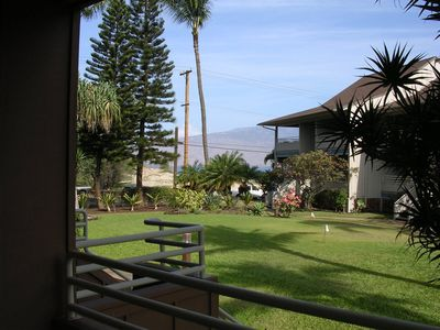 View from lanai showing beach park