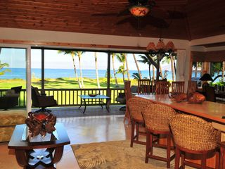 Kihei house photo - Great Room w/20 Sliding Glass Door/Lawn & Ocean Views/Bali Furniture