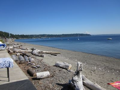 Enjoy a morning walk along 3 Tree Point Beach; Mt. Rainier in the bacground.