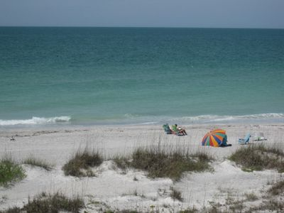 Taken from our balcony. Nothing blocks your view of Gulf and beach.