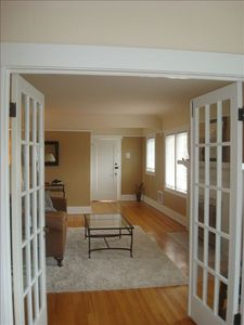 view from sunroom to Living Room