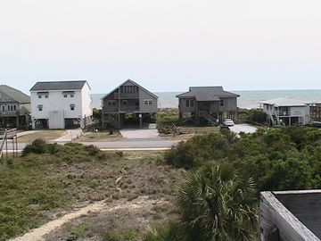 View of ocean and pathway from roof deck. (Beach access is to right of image)