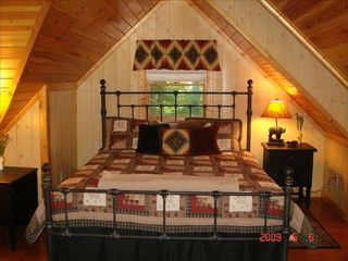Clayton cabin photo - Master Bedroom has a King bed & a double bed tucked in dormer