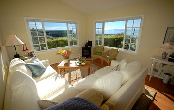 Santa Barbara cottage rental - Sun drenched living room with views of the Pacific