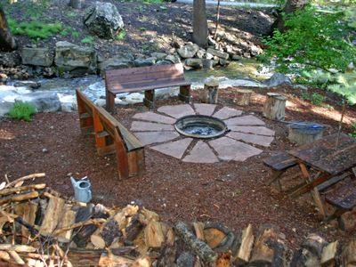 Enjoy a Campfilre at our Streamside Firepit - Yum s'mores!!