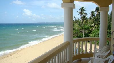View from Balcony. Walk miles along this beach. Collect sea glass & shells.