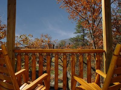 Sevierville cabin rental - Relax and have a bottle of wine and watch the beautiful Fall Foilage!