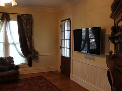 Yadkinville estate rental - Family Room has a flat screen TV and walks out to wrap around porch