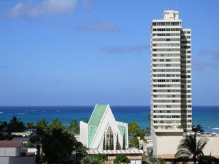 Waikiki apartment rental - morning view from Blue Banyan's lanai
