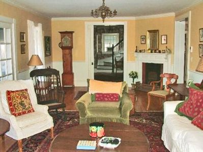 Edgartown house rental - Living Room Has Ample Seating & Fireplace