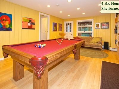 Shelburne house rental - GAME ROOM with pool table and music system (door to porch in the distance).