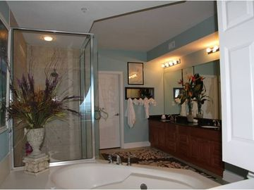 Huge Master Bath, glass shower, jetted tub, dual vanity, and walk-in closet