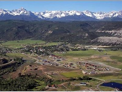 Looking down at the town of Ridgway from access road while traveling to our home