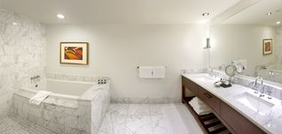 Honolulu condo photo - A look at the Master Bath with soaking tub. All the baths have marble finishes.