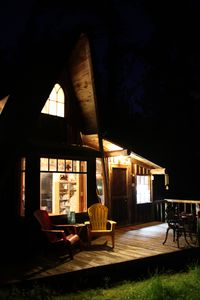 Cabin on a warm night.