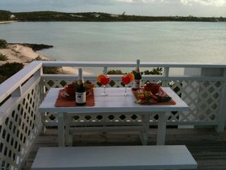 Black Point cottage photo - Outside Dining Overlooking The Bahama Banks From Seashell Cottage.