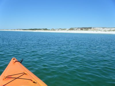 A kayak trip off Topsail Park just 5 minutes west of the house.