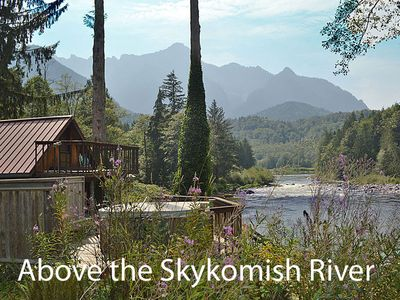 On a point of land above the Skykomish River with your own grassy beach