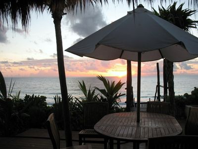 Sunrise from deck overlooking Caribbean Sea