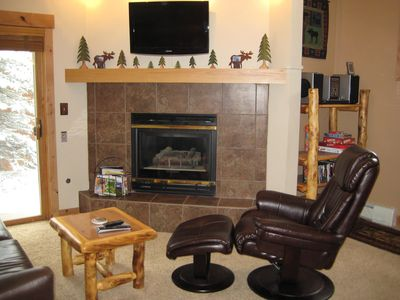 Relax by the gas fireplace after a day of skiing