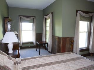 Jefferson farmhouse photo - Large bedroom with queen sized bed on second floor with view of pond.