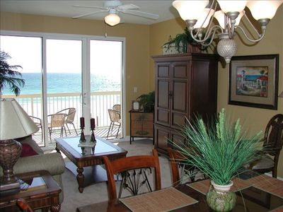 Enjoy the beautiful ocean front view from the balcony off the livingroom